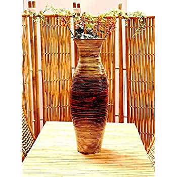 Tall Modern Spun Bamboo Decorative Floor