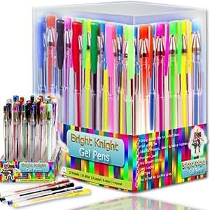 Bright Knight Gel Pens - 36 Gel Pen Set - Quality Gel Ink Pens - Multi Colored - Fine Ink Ballpoint Pens - Smooth, Anti Skip - Neon, Pastel, Metallic, Glitter - A Great Range of Colors