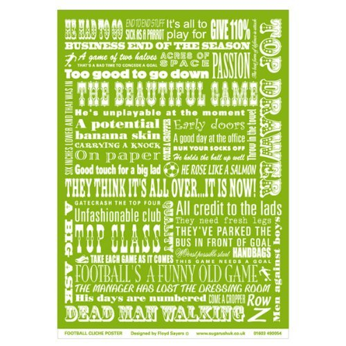 Football Cliches Poster - Ideal present for any football fan (green) (Football Cliches compare prices)