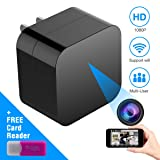 Corprit WiFi Spy Camera - Hidden Camera - HD 1080P USB Charger Adapter Nanny Cam for Home Office Security with APP Remote View and Control Motion Detection Alert (Color: Black-Charger, Tamaño: 5