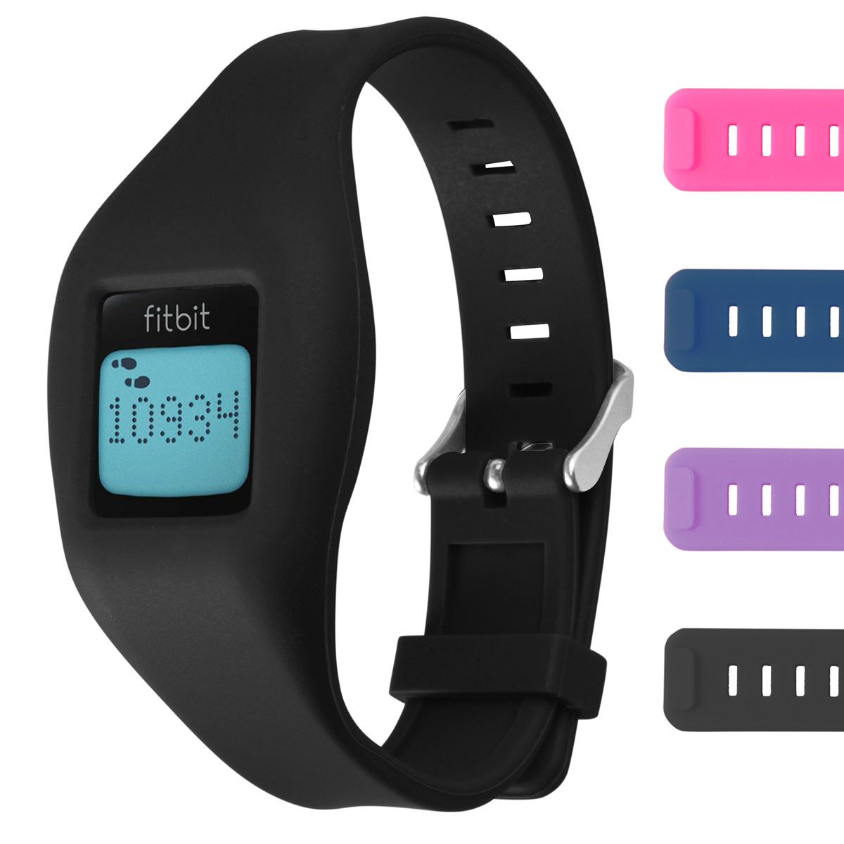 Fitbit Zip Buckle Bracelet - Adjustable Wristband and Wristwatch Style - Fitbit Zip Silicone Replacement Secure Band with Chrome Watch Clasp and Fastener Buckle - Fix the Tracker Fall Off Problem
