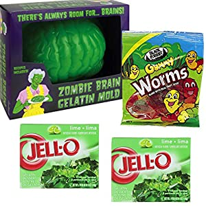 Halloween Brain Gelatin Mold With Green Jello, Worms, and Recipe Bundle. Fun To Bring To Party Or As A Project With Kids.