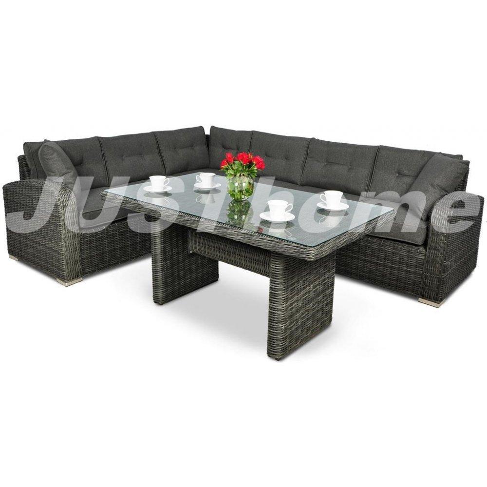 JUSThome Gartenmöbel Sitzgruppe Gartengarnitur Malibu 1x Ecksofa + 1x Tisch Grau