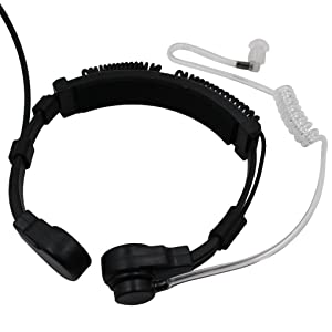 FANVERIM 2 X Throat Mic Microphone Covert Acoustic Tube Earpiece Headset with Finger PTT Compatible for Kenwood Puxing Wouxun Baofeng Uv5R Two Way Radio 2pin (2 Packs)