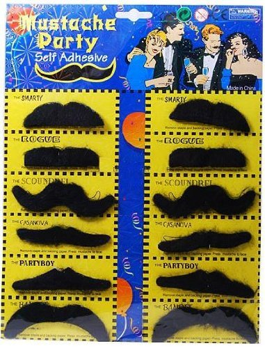 Self Adhesive Set 12 Fake Mustaches Costume Party Disguise