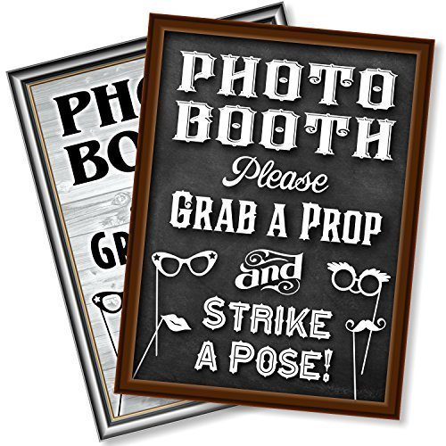 Bigtime Designs Photo Booth Props Sign, 2-Sided, Use for any Wedding, Party or Event Chalkboard Style on 1 Side and a Rustic Vintage Look on the 2nd, 16