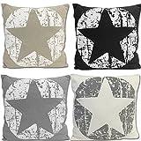JEMIDI Deko Kissen Sterne gefüllt 45cm x 45cm Sofakissen Stern Weihnachten Zierkissen Couchkissen Stern Grau - 4