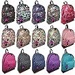 Hey Hey Handbags - Ladies Canvas Retro Print Backpack, Colour: FOX Navy - CANVAS