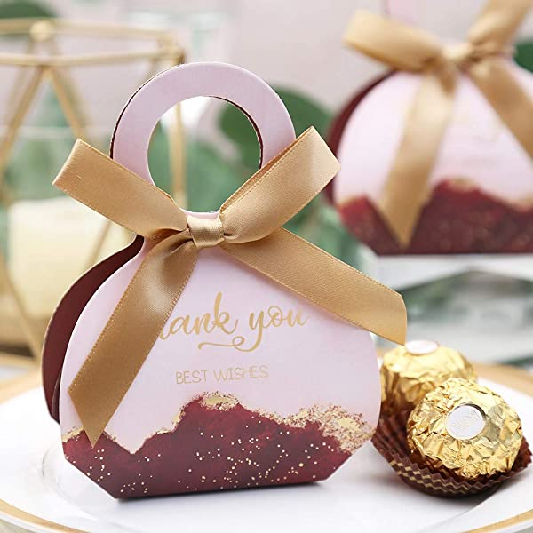 Doris Home 50 pcs Birthday Wedding Party Favor, Wedding Gift Bags Chocolate Candy and Gift Boxes Bridal Shower Party Paper Gift Box Burgundy Boxes with Ribbons (Burgundy 2.5x3x1.3 inch) (Color: Burgundy 2.5x3x1.3 Inch)
