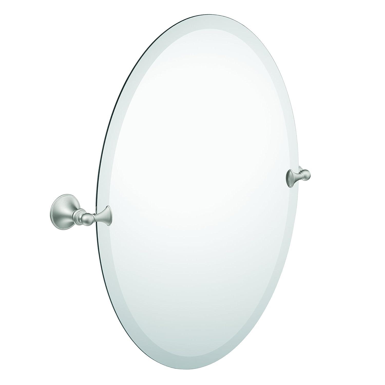 Bathroom Mirror Beveled Edge Oval Tilting Brushed Nickel Modern Vintage Classic Ebay