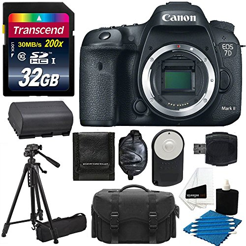 Canon EOS 7D Mark II Digital SLR Camera 20.2 MP CMOS (Body Only) With Gadget Bag + Tripod + Extra Battery With 32GB SD Card Bundle And Much More! (Canon 7d Package compare prices)