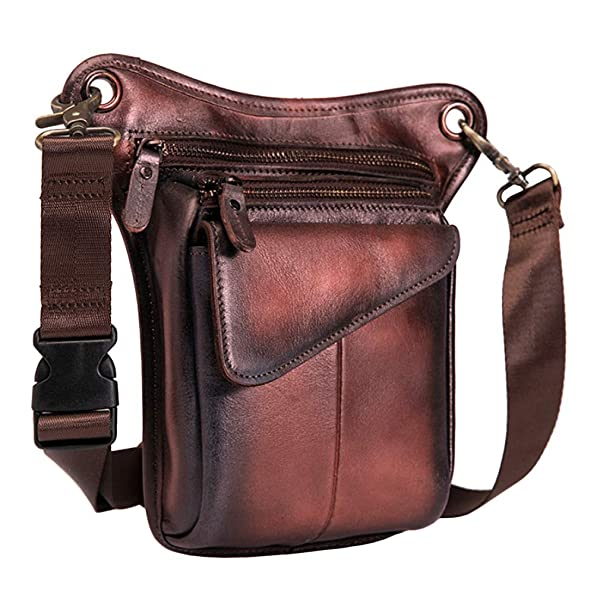 Men Genuine Leather Cycling Motorcycle Fanny Waist Pack Tactical Drop Leg Bag
