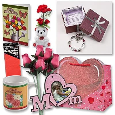 "Mothers Day Gift Set Complete with Gift Bag, Red Tissue Paper, Love Mother Forever Bracelet, Bouquet of 8 Wire Stem Burgundy Roses, ""I Love You"" Mini Bear, Large Greeting Card, Picture Frame and Mug!"