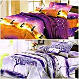 BLENZZA DECO 3D PRINT 2 DOUBLE BED BEDSHEETS & 4 PILLOW COVERS(COMBO OF 2 SETS)