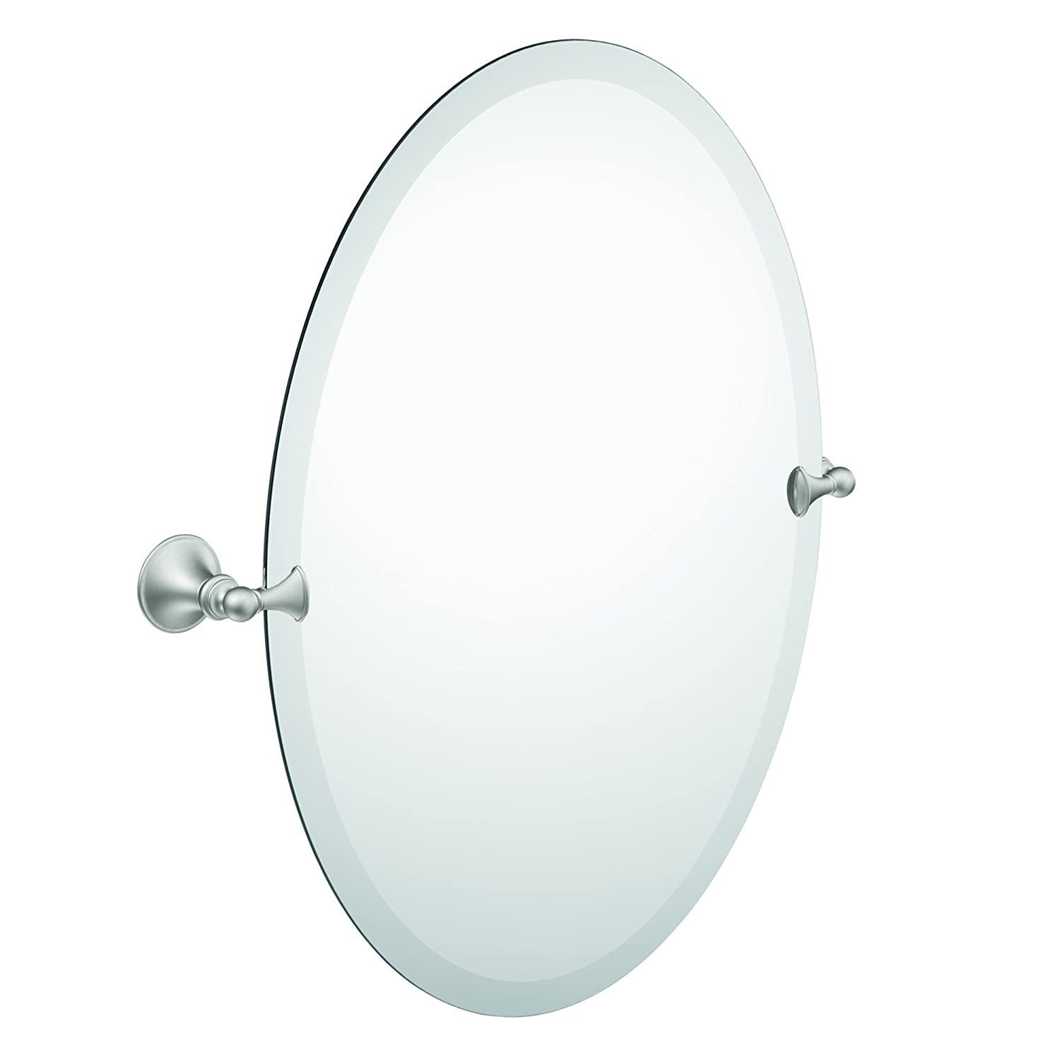 bathroom mirror beveled edge oval tilting brushed nickel