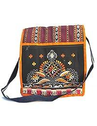 Modish Cross Body Bag Colorful Floral Embroidered Messenger Bag - Multi Magenta