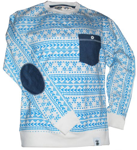 MENS AZTEC DESIGN ROUND NECK SWEATSHIRT - TURQUOISE - LARGE