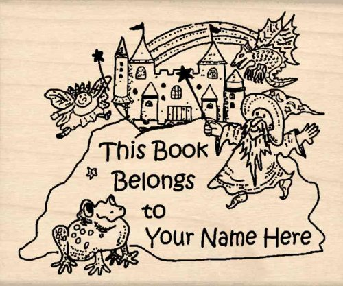 Custom Made & Personalized - This Book Belongs To: Bookplate Rubber Stamp - 2-1/2 inches x 3 inches (Custom Bookplates compare prices)