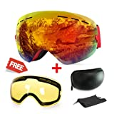 Extra Mile Ski Goggles, Anti-Fog UV Protection Winter Snow Sports Snowboard Goggles with Interchangeable Spherical Dual Lens for Men Women & Youth Snowmobile Skiing Skating (Orange) (Color: Orange + Yellow, Tamaño: Adjustable)