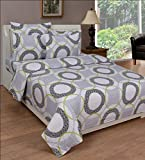 BeautifulHOMES Glory Cotton Double Bedsheet With 2 Pillow Cover - Grey and Black