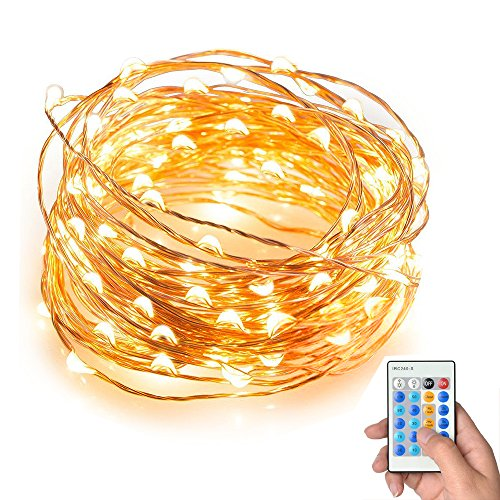 String Lights, Keepfit Dimmable 100 LEDs String Lights, 33ft Copper Wire Light,Waterproof Rope Lights,Remote Control ,Warm White,UL Certified for Patio, Christmas, Decorative Firefly Lights (Rope Lights 75 Feet compare prices)