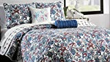Isaac Mizrahi 2 Piece Twin Quilt Set Red Blue Gray Cream Floral Paisley Pattern