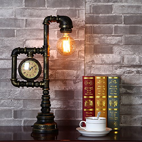 Injuicy Lighting Vintage Industrial Water Pipe Table Light Edison Desk Accent Lamp With Clock Bar 0