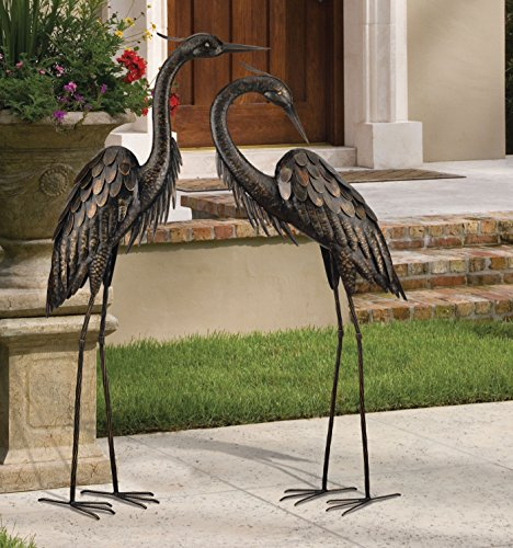 regal art amp gift bronze heron standing art 45 inch home regal art preening crane 3 d standing art garden decor