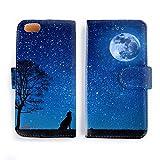 iPhone5/5s/SE ケース 手帳型 満月とオオカミ 星空/宇宙コレクション おしゃれ シンプル かっこいい アイフォン カバー スマホケース アイホン 001 (iPhone5/5s/SE)