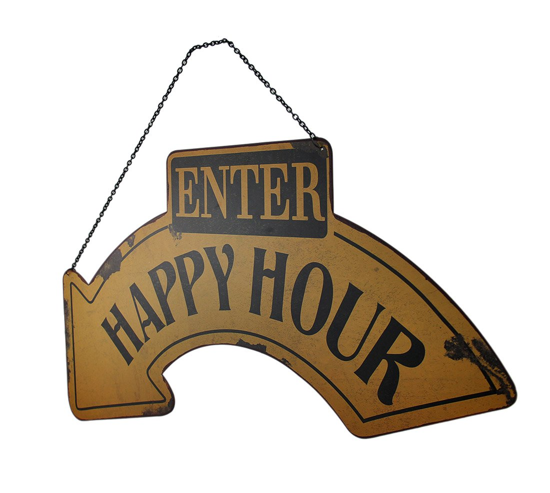 ENTER HAPPY HOUR Sign with Curved Arrow