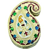 SAARTHI Single Mango Shaped Handmade Rajasthani Meenakari Kankavati/ Kumkumvati Box/ Meenakari Decorative Box/ Dry Fruit Box (10 Cm X 7.5 Cm X 3 Cm) - B0749S2HXK