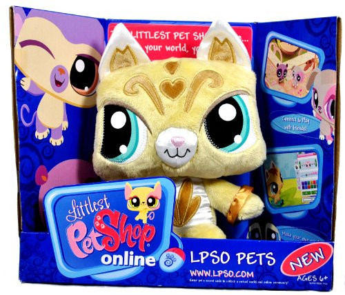 Buy Low Price Hasbro Littlest Pet Shop Online LPSO Pets Series 8 Inch Tall Plush Figure with Code to Unlock the Virtual World and Online Community – Golden Color KITTY CAT (B004L8SSXI)