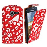 Xtra-Funky Exclusive Animal Dog Cat Paw Foot Print Pu Leather Flip Case Cover For Samsung Galaxy Ace 2 (i8160) - Red