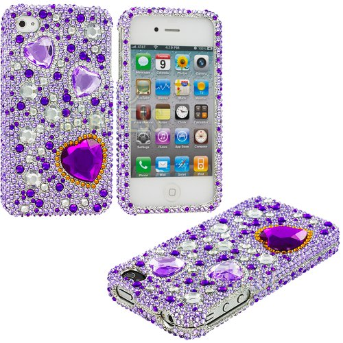 Mylife Purple Jeweled Hearts - Rhinestone Series (2 Piece Snap On) Hardshell Plates Case For The Iphone 4/4S (4G) 4Th Generation Touch Phone (Clip Fitted Front And Back Solid Cover Case + Rubberized Tough Armor Skin) front-340120