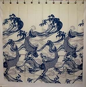 Hawaii Theme 100 Polyester Fabric Shower Curtain Blue Koi Fish Home Kitchen