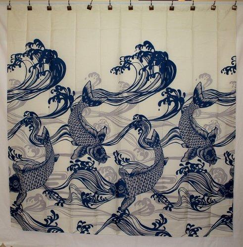 Hawaii Theme 100 Polyester Fabric Shower Curtain Blue Koi Fish