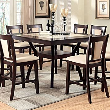 Brent Traditional Style Dark Cherry Finish 7-Piece Counter Height Table Set