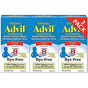Advil Infants Fever Concentrated Drops White Grape Flavored, 0.5 oz (Pack of 3)