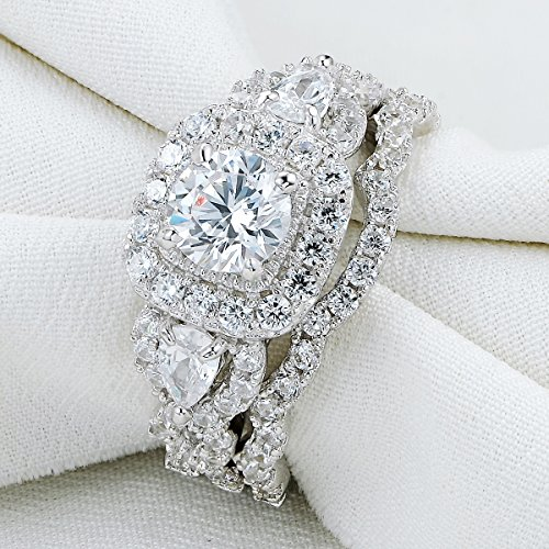 Newshe 2.4ct Round Pear White Cz 925 Sterling Silver Wedding Engagement Ring Set Bridal Size 7