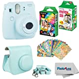 Fujifilm Instax Mini 9 Instant Film Camera (Ice Blue) - Fujifilm Instax Mini Instant Film, Twin Pack - Fujifilm Instax Mini Rainbow Film - Case for Fuji Mini Camera – Fuji Instax Accessory Bundle (Color: Ice Blue)