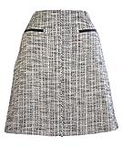 BOSS Skirt Vacili2 A-Line Black Cotton & Linen Tweed Skirt Size 8