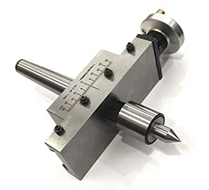 NEW IMPROVED TAPER TURNING ATTACHMENT WITH REVOLVING LIVE CENTER FOR LATHE MACHINE-METRIC (MORSE TAPER 3MT) (Color: METAL GROUND, Tamaño: MORSE TAPER 3MT)