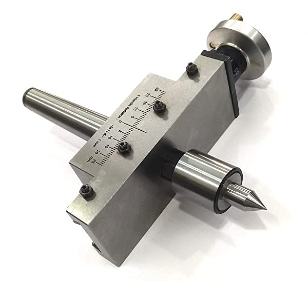 NEW IMPROVED TAPER TURNING ATTACHMENT WITH REVOLVING LIVE CENTER FOR LATHE MACHINE-METRIC (MORSE TAPER 2MT) (Color: METAL GROUND, Tamaño: MORSE TAPER 2MT)