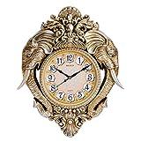 GATTS Elegant & Classic Golden Elephant Frame Decorative Wall Clock(23.4x19x3 Inch)