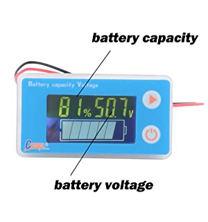 CPTDCL Multifunction 48V LCD Lead Acid Battery Capacity Meter Voltmeter with Temperature Display, Blue (Color: with temperature display-blue)