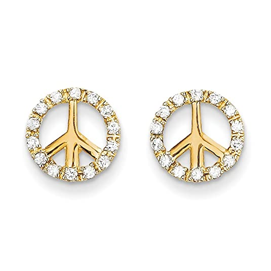14ct Gold CZ Peace Sign Post Earrings
