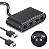 Adapter for Nintendo Gamecube, BEBONCOOL Gamecube Controller Adapter for Wii U, Nintendo Switch, PC & USB with 4 Port Plug and No Driver Converter (Color: Black1, Tamaño: NGC Controller Adapter for Wii U/PC/Switch)