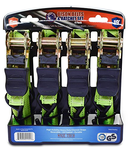 Ratchet Tie Down Straps 19 foot 4 Pack by Bison Gear High Visibility UV Resistant 1800lb Heavy Duty Cargo Straps with Ergonomic Rubber Grips & Coated Deep S Hooks - Safety Standards Certified (Gear Ratchet compare prices)