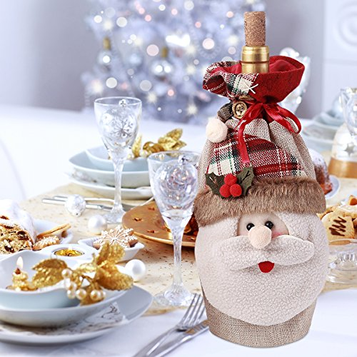Cyber Monday Deal Large Size 3D Christmas Santa Claus Gift Candy Bag Wine Holders with Cord Drawstring Cute Holiday Festive Xmas Decorations 6.5