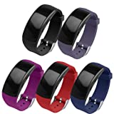 OenFoto Compatible Gear Fit2 Pro/Fit2 Band, Replacement Silicone Accessories Strap Samsung Gear Fit2 Pro SM-R365/Gear Fit2 SM-R360 Smartwatch-5Pack (Color: 5-Pack(Black/Gray/Red/Purple/Blue))